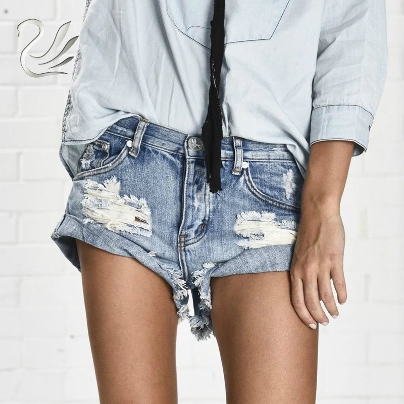 Vanlo Apparel 50's Vintage Ripped Hole Fringe Blue Denim Shorts Women Casual Button Pocket Jeans Shorts 2019 New Style Shorts