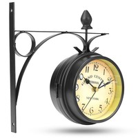 Charminer Double Sided Round Wall Mount Station Clock Garden Vintage Retro Home Decor Black