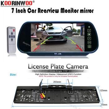 "Koorinwoo HD 7"" LCD car Mirror Monitor parking DVD/VCD/GPS/TV Screen Car Europe License Plate Frame Rearview Camera Night Vision"