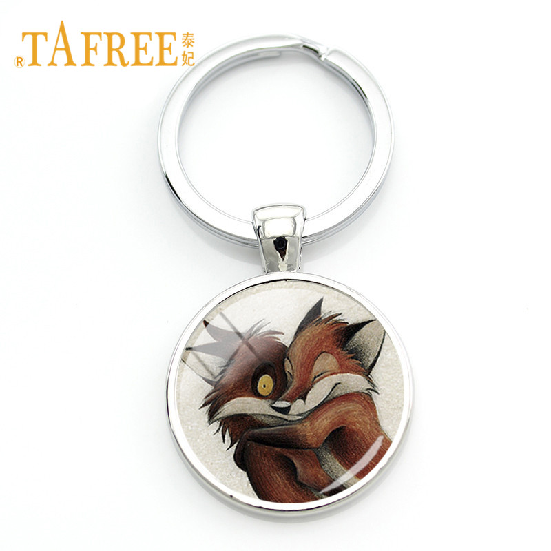 TAFREE Glass Gems Keychain For Handbag Car Key Ring Cute Fox Pendant Key Chains Animal Clip Art Kids Jewelry Gift WF02