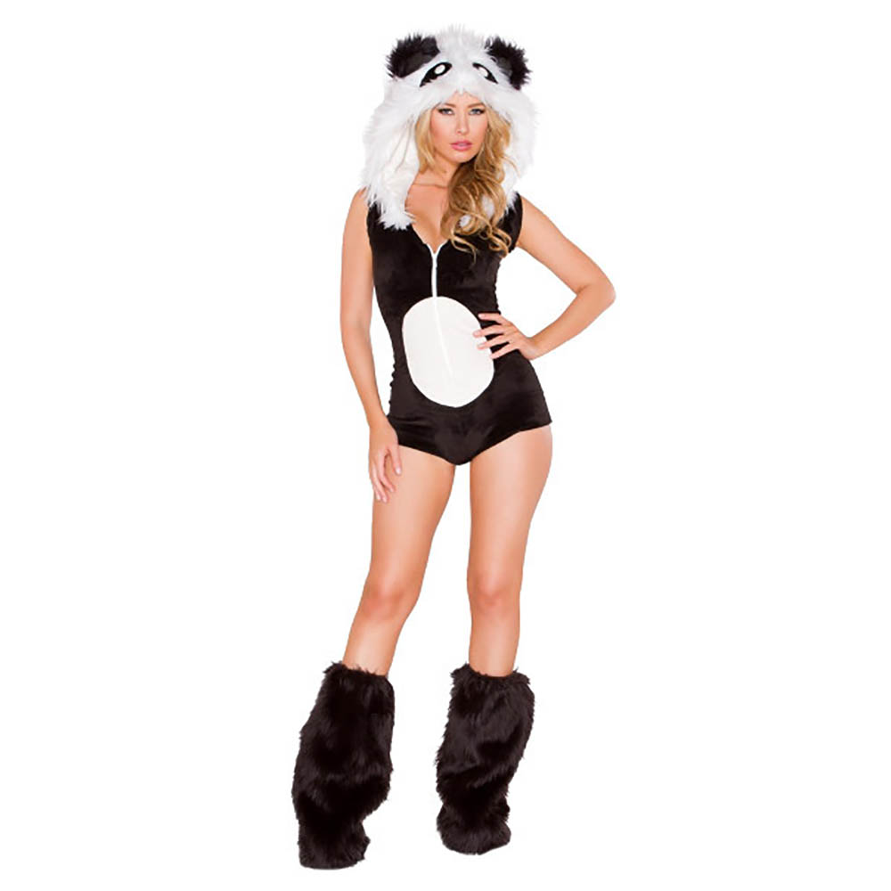 Fluffy Panda Costume Sexy Women Hooded Leotard Animal Costume Fancy Dress Furry Costume with Leg Warmers Carnival Adult Costumes