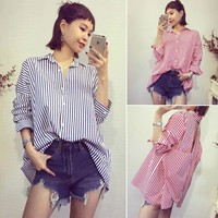 Cheap Casual Girls Vertical Stripes Back Cross Cutout Loose Blouse Shirt T