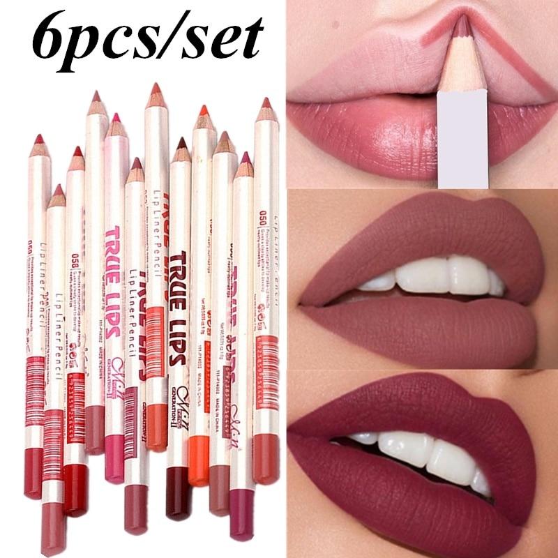 6Pcs Cosmetic Professional Wood Lipliner Waterproof Lady Charming Lip Liner Soft Pencil Makeup