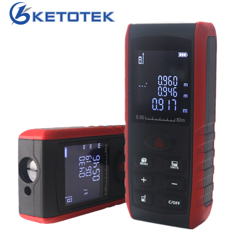 Handheld Laser Rangefinder Digital Laser Distance Meter Area Volume Tester Level Practractor Angle Indication 40m 60m 80m 100m kaman mk 60 1 8 lcd handheld laser distance meter rangefinder black red multi colored