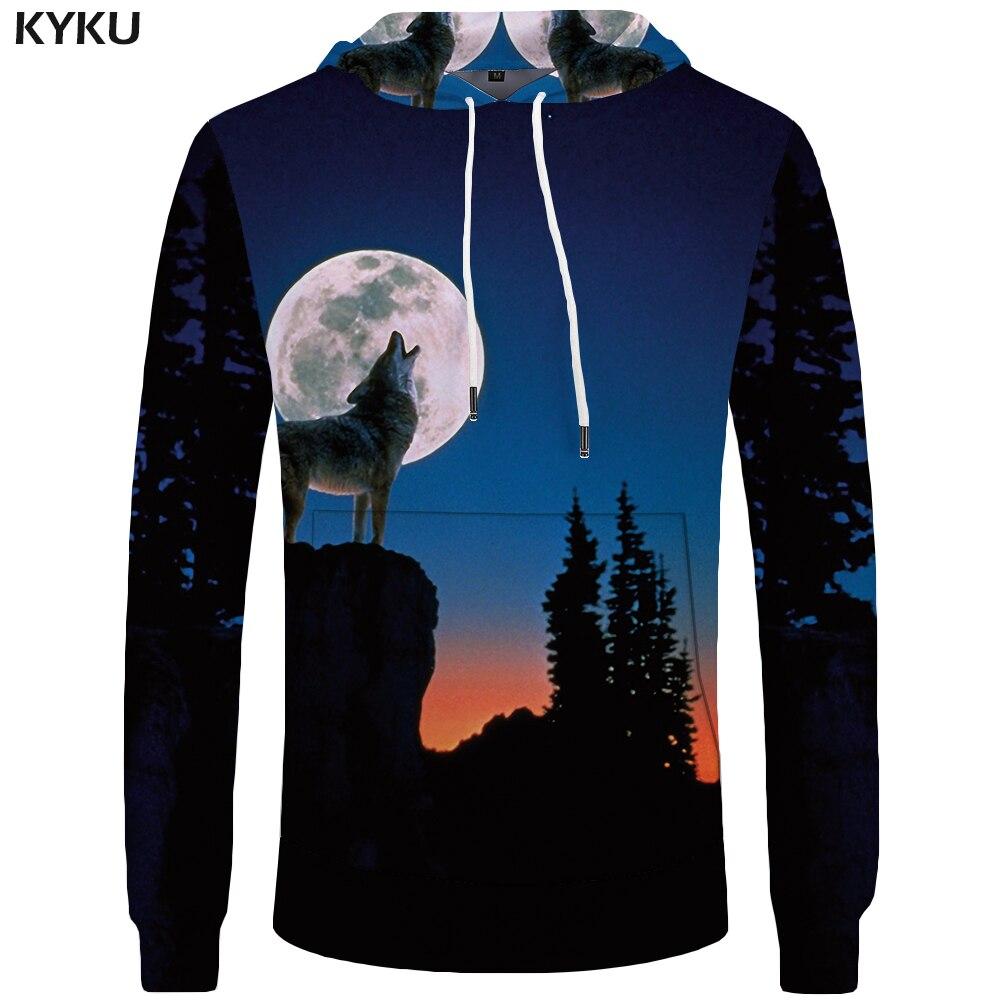 KYKU Wolf Hoodies Men Moon Sweatshirts Harajuku Hoddie Casual Mens Clothing Pocket Sweatshirt 3d Hoodies 2018 Casual Hooded