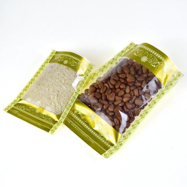Sac alimentaire en plastique Golden transparent | Pochette demballage, noix et haricots, avec fermeture à glissière, 100 pièces
