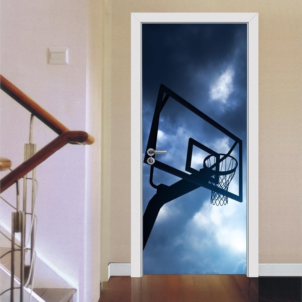 3D Sport Basketball Door Sticker Wallpaper Wall Decal Poster Children Boy Bedroom Glass Wood Gate Door Home Decoration