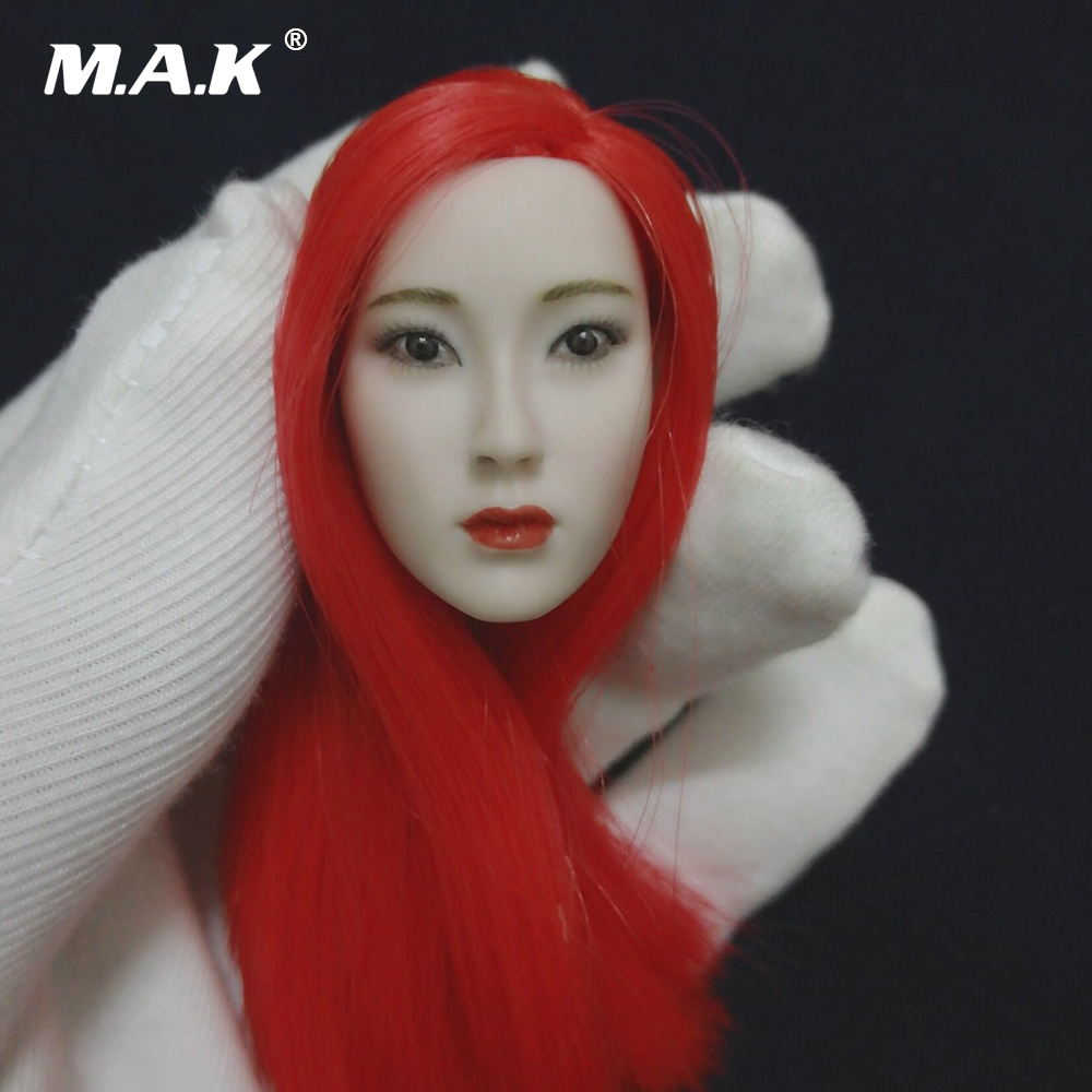 1/6 Scale Female Head Carving Beauty Red Hair Gril Head Sculpt for 12'' PH Pale Female Action Figure Body 1 6 scale female head sculpt beauty girl headplay long curly hair for 12 dstoys ht ph action figure