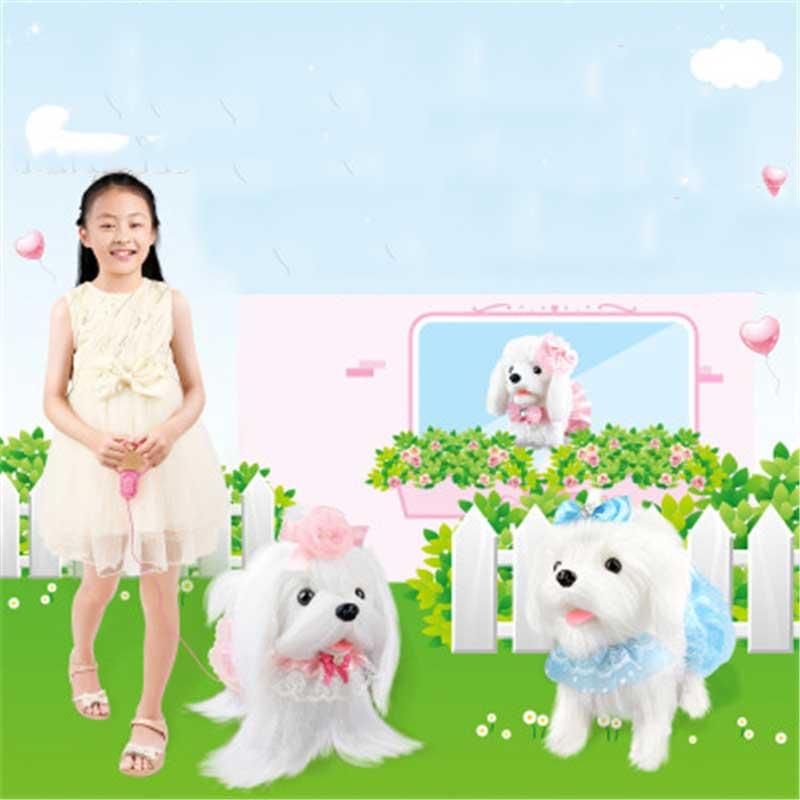 Perro Robot electrónico juguetes para perros de peluche cachorro mascota paseo corteza princesa correa de peluche controlado por línea de juguetes para niños niñas regalos - 2