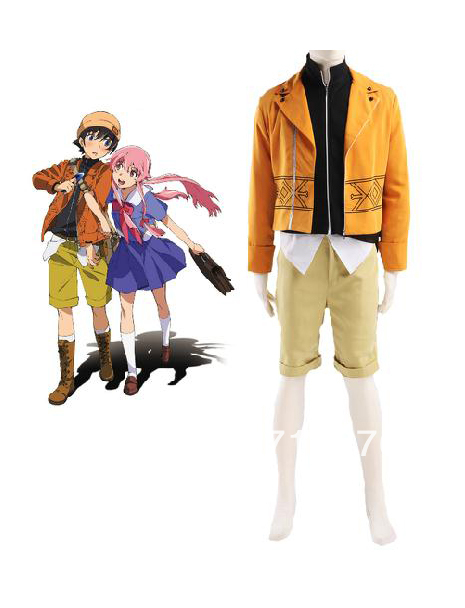 Kisstyle-Mirai Nikki- Framtidsdagboken Amano Yukiteru Cosplay Kostym