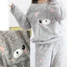 2018 Autumn and Winter Thick Warm Women Pyjamas Sets Coral Velvet Suit Flannel Long Sleeve Female Cartoon Bear Animal Sleepwear