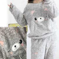 2018 automne et hiver épais chaud femmes Pyjamas ensembles corail velours costume flanelle à manches longues femme dessin animé ours Animal vêtements de nuit