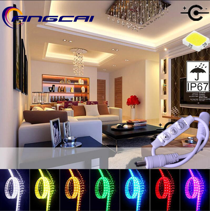 12W/1M/120LED Dimmers Switch Highlight LED Strip Light String Lamps12V 5M 2835/3528 Diode Tape DC Flexible Warm White RGB