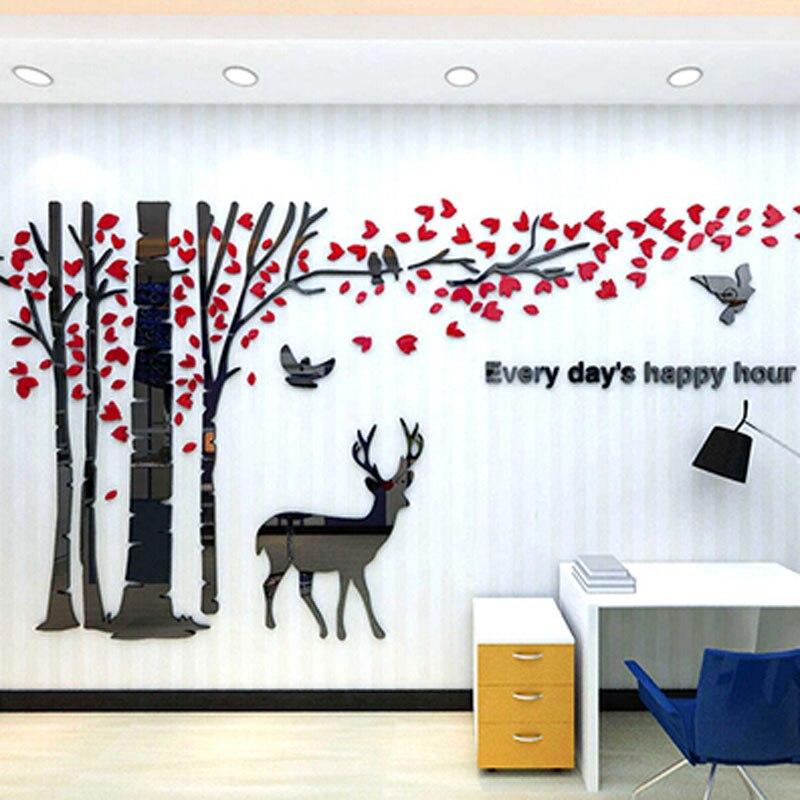 Orignal et arbre Design acrylique mur autocollant bricolage 3D autocollants pour salon TV fond café chambre mur décoration