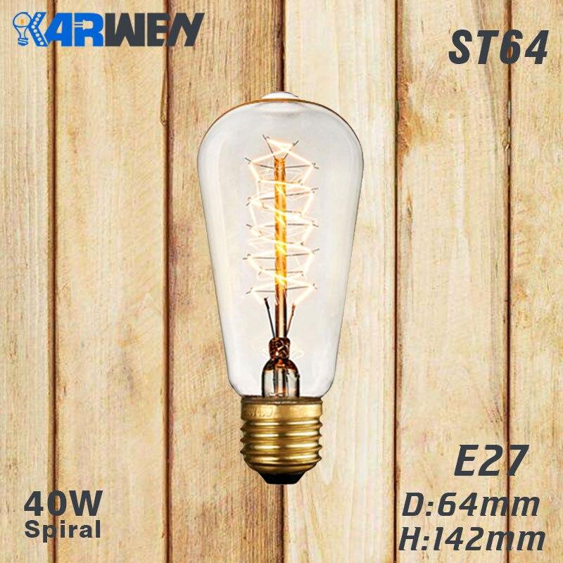 Эдисон лампы E27 40 Вт накаливания подвесной светильник в стиле ретро 220V ST64 A19 T45 T10 G80 G95 ампулы Винтаж лампа Эдисона лампа накаливания светильник лампочка - Цвет: ST64 spirai