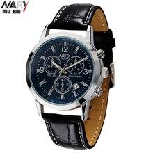 NARY Marca Relojes Hombres Marca de Lujo Reloj de Cuarzo Hombre Reloj Masculino Calendario Reloj de Pulsera Correa de Cuero Ocasional de Los Hombres 6033