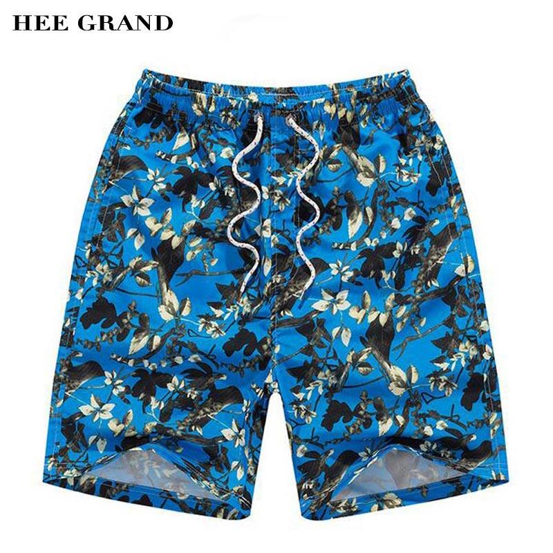 HEE GRAND Hommes Genou Longueur Short 2018 Nouvelle Arrivée Imprimé floral Décoration Cordon Casual Summer Beach Shorts MKD1348