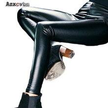 High Waist Plus Velvet Women 2017 Fashion PU Leather Pants Leggings Waichuan Matt Thin Thicker Autumn Winter Pants HM032