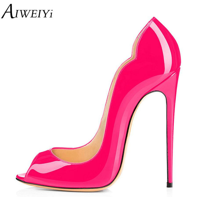 8edcd23555 ENGERIS Women Pumps Patent Leather High Heel Shoes Peach Open toe Stiletto  Heels Platform Pumps Ladies Wedding Party Shoes