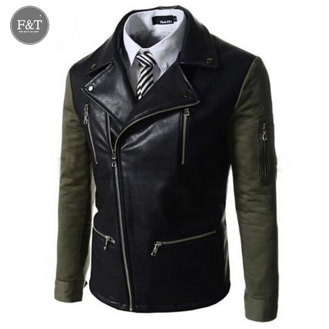 [ Азии размер шт] мода мотоцикл jaqueta де couro masculina смешанные цвета тонкий корейских мужчин zip отворотом кожаную куртку пальто