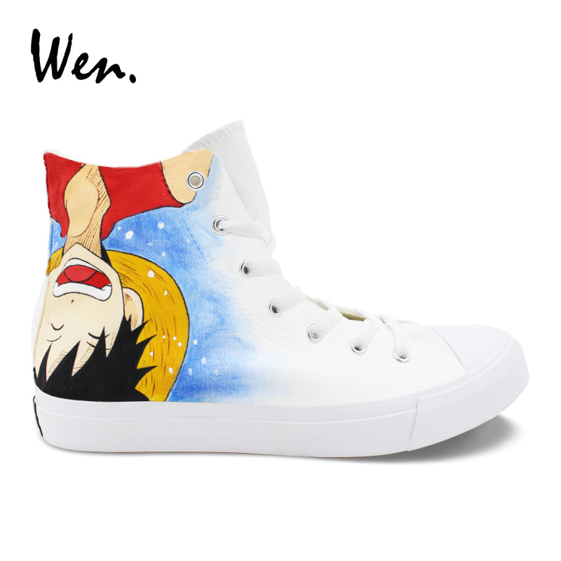 Wen Design Unisex Anime Shoes Hand Painted One Piece Ace Luffy High Top Strappy Sports Sneakers Boys Girls Canvas Rubber Shoes