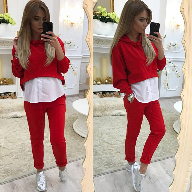Women's Hooded Sports Suits Sexy Sportswear 2 Piece Set Sportswear Jogging Tracksuit Loose Fake Two Women's Clothes