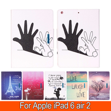 Printing Colours Instances For Apple iPad 6 iPad Air 2 Sensible PU Leather-based Pill Case Stand Flip Card Slot Cowl Pill Equipment