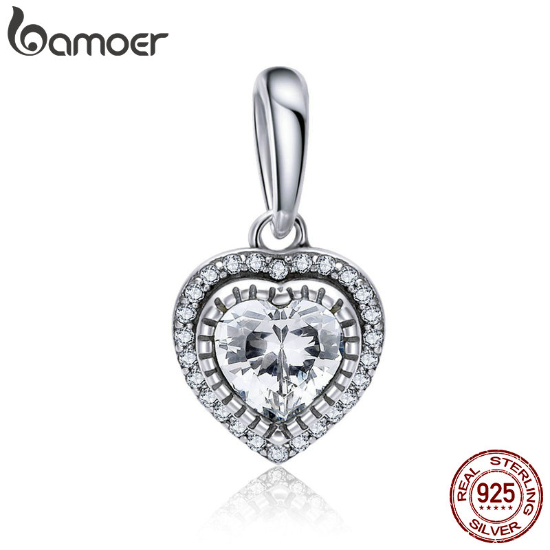 купить BAMOER 925 Sterling Silver Classic Dazzling Sweet Heart Charms Beads fit Women Bracelets & Necklaces DIY Jewelry Making SCC845 в интернет-магазине