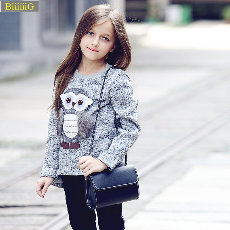Girls Cartoon Feather Owl Blouse Shirt 2018 Spring Autumn Tshirt Fashion Girl Tops Rapunzel Kids Clothes Cotton O-neck T Shirt &