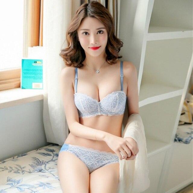 EFINNY Women Seamless Half Cup Lace Bra Set Adjust Small Breasts Sexy Back  Closure Tow Hook Underwear Push Up Bra Set f111ffc2cf