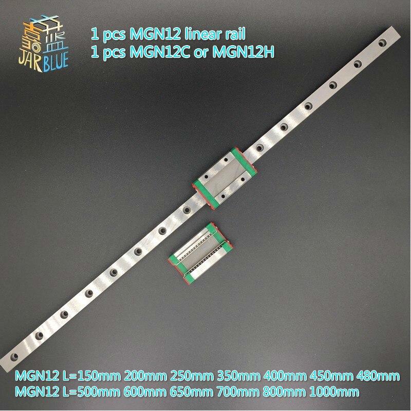 лучшая цена 12mm Linear Guide MGN12 L=150mm 200mm 250mm 350mm 400mm 450mm 480mm 500mm 600mm 650mm 700mm 800mm 850mm+ MGN12C or MGN12H block