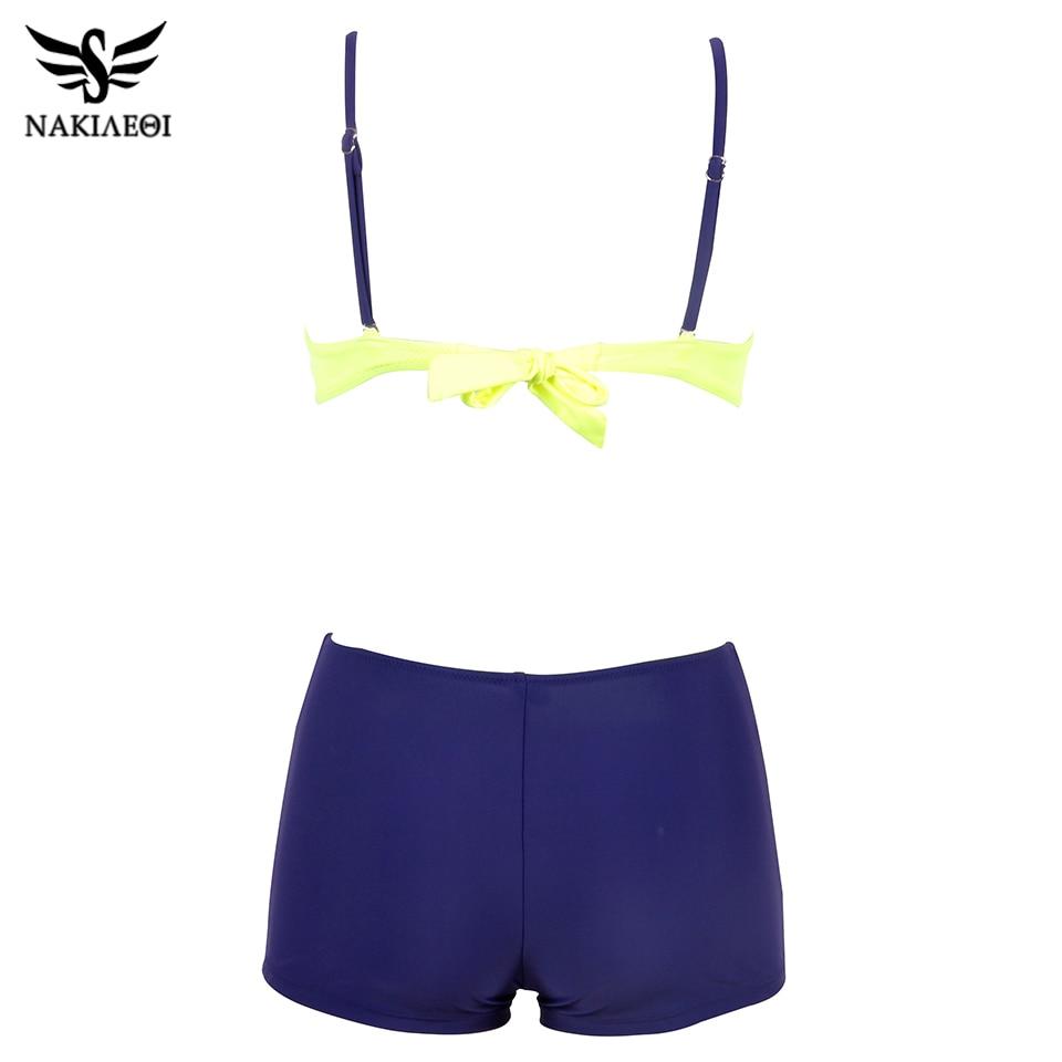 NAKIAEOI 2019 Bikini Push Up Swimwear Women Swimsuit Plus Size Swimwear Solid Patchwork Shorts Two-Pieces Swimming Bathing Suits