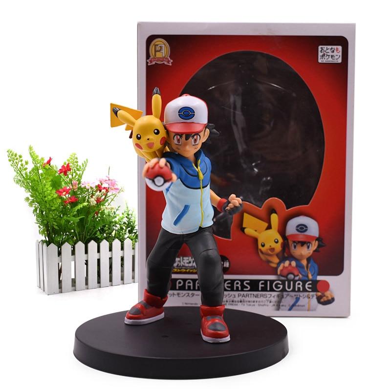 Anime Ash Ketchum & Pikachu Partners PVC Figurine PVC Action Figure Collection Model Christmas Gift Toy For Children 12 CM