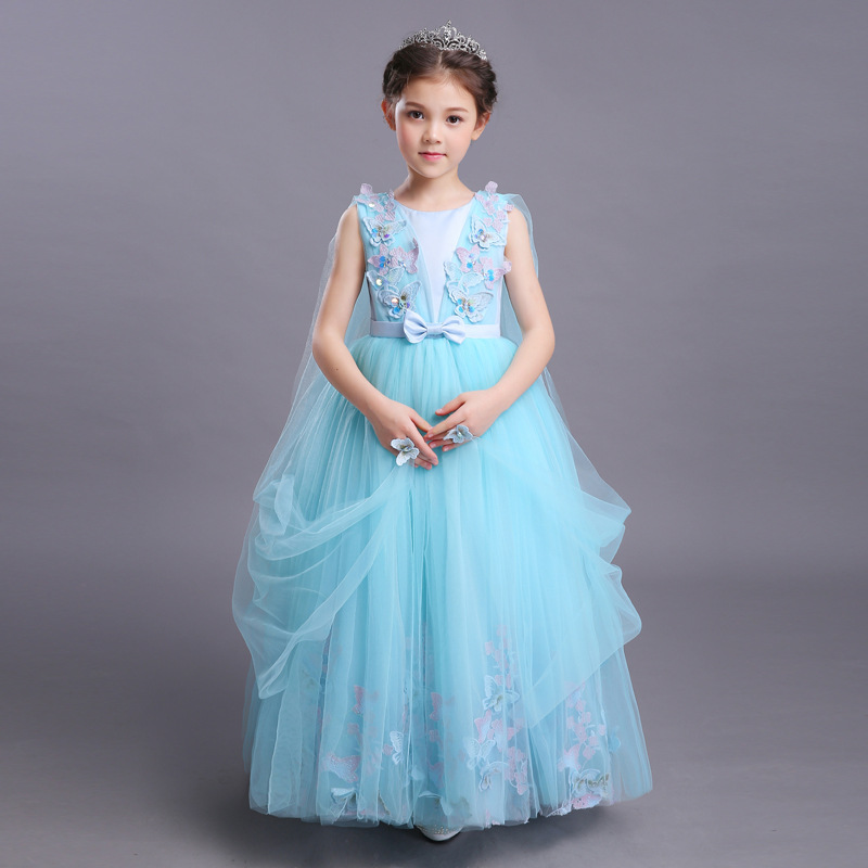 flower girls blue wedding dresses for little girls dress evening party dresses summer teens big girl wedding dress 3-12 years summer dresses for girls party dress 100% cotton summer cool and refreshing the harness green flowered dress 1 5years old