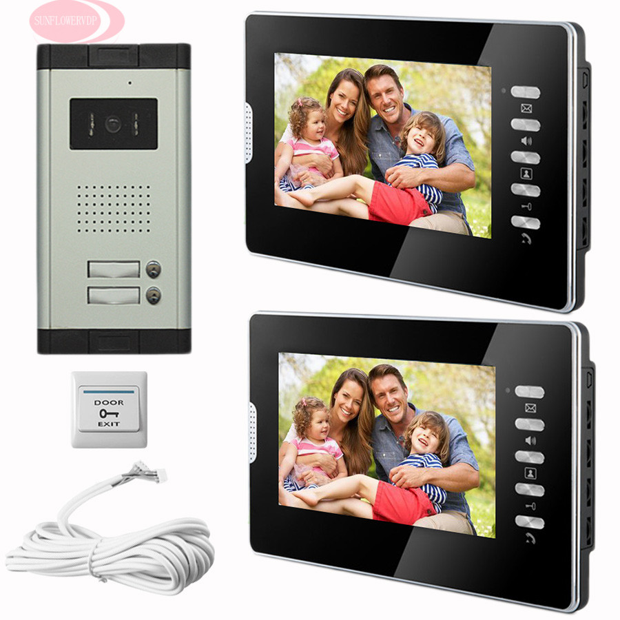 SUNFLOWERVDP Home Phone Intercoms Doorbell System 7 Color LCD CCD Camera Infared Night Vision Video Door Phone For Apartments