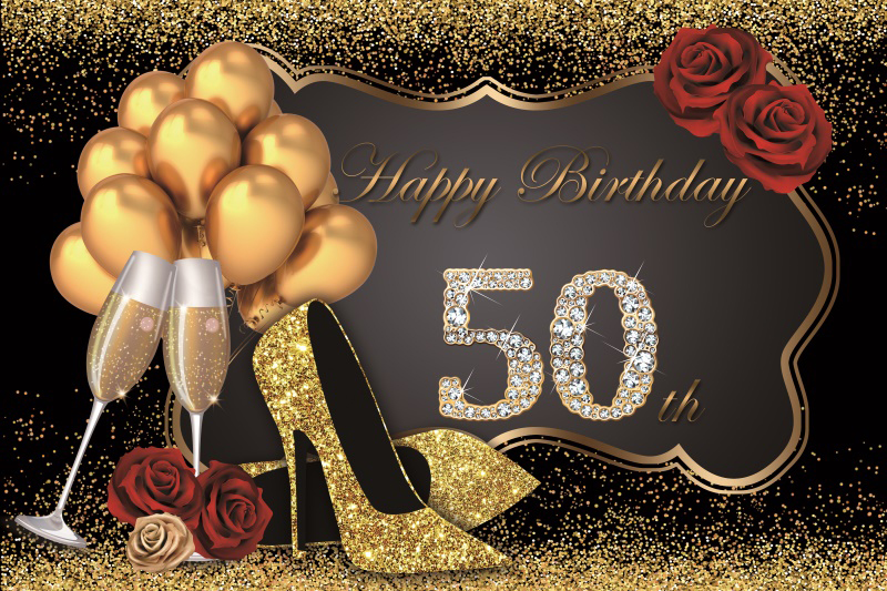 Laeacco <font><b>Happy</b></font> <font><b>Birthday</b></font> <font><b>50th</b></font> Party Balloons High Heels Photography Backgrounds Customized Photographic <font><b>Backdrops</b></font> for Photo Studio image