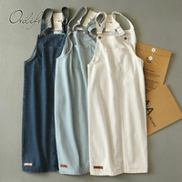 Ordifree 2018 Summer Autumn Women Denim Dress Sundress Casual Jeans Dress Overalls Strap Cotton White Female Denim Dress