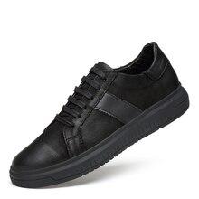 أحذية رياضية الرجال حذاء كاجوال جلد طبيعي البروغ أحذية رجالي مصمم الصلبة الكلاسيكية موضة الذكور الدانتيل يصل الشقق الأسود 36 46