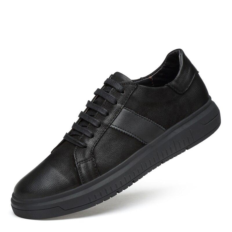 Baskets hommes chaussures décontractées en cuir véritable richelieu chaussures hommes Designer solide classique mode mâle à lacets appartements noir 36-46