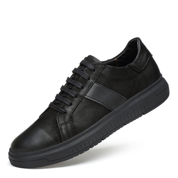 Sneakers Men Casual Shoes Genuine Leather brogue shoes mens Designer solid Classic Fashion Male Lace up Flats black 36-46 mycolen new fashion mens office lace up classic leather shoes men s casual party driving man vintage carved brogue flats