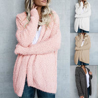 Spring Autumn Winter New Short Loose Fluffy Mohair Cardigan Sweater Jacket Female Women Long Sleeve Cardigan