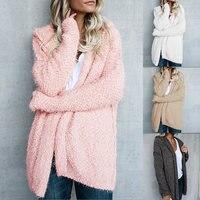 Spring Autumn Winter New Short Loose Fluffy Mohair Cardigan Sweater Jacket Female Women Long Sleeve Cardigan