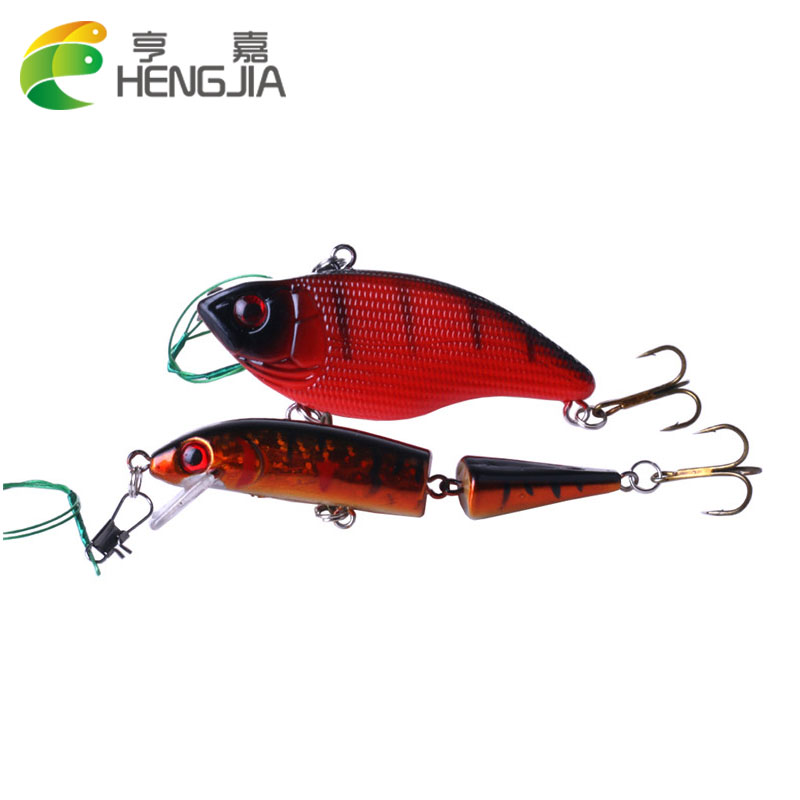 HENGJIA Minnow Fishing Lure Set 2PCS isca Artificial Hard Bait VIB Crankbait Hook floating deep Fishing Tackles equipment
