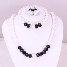 43113d2d9920 Caliente mujer traje negro conjuntos de joyas de cristal de Color de Plata  Perla simulada de la boda de novia