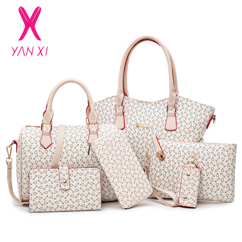 YANXI 2019 新 6 ピースセット女性のバッグの革ハンドバッグ高品質ファッションカジュアルショルダーバッグ女性財布デザイナーブランド  グループ上の スーツケース & バッグ からの トップハンドルバッグ の中 1