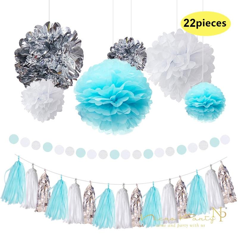 Nicro 22 Pcs/Lot Bleu Papier Fleurs Frais Blanc Argent Gland Guirlande DIY Sexe Heureux Fête D'anniversaire Décoratif fournitures # Set08