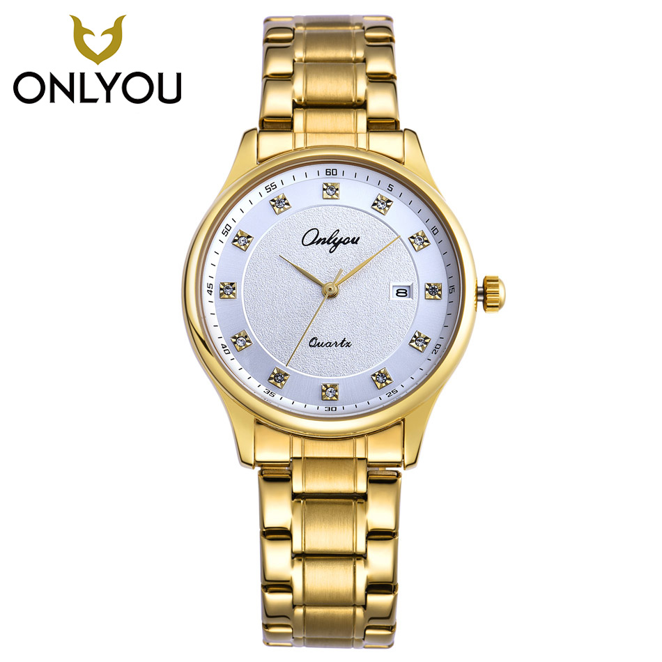 ONLYOU New Women Watch Gold Men Diamond Rhinestones Watches Men Top Brand Luxury Stainless Steel Clock Automatic Quartz Watch
