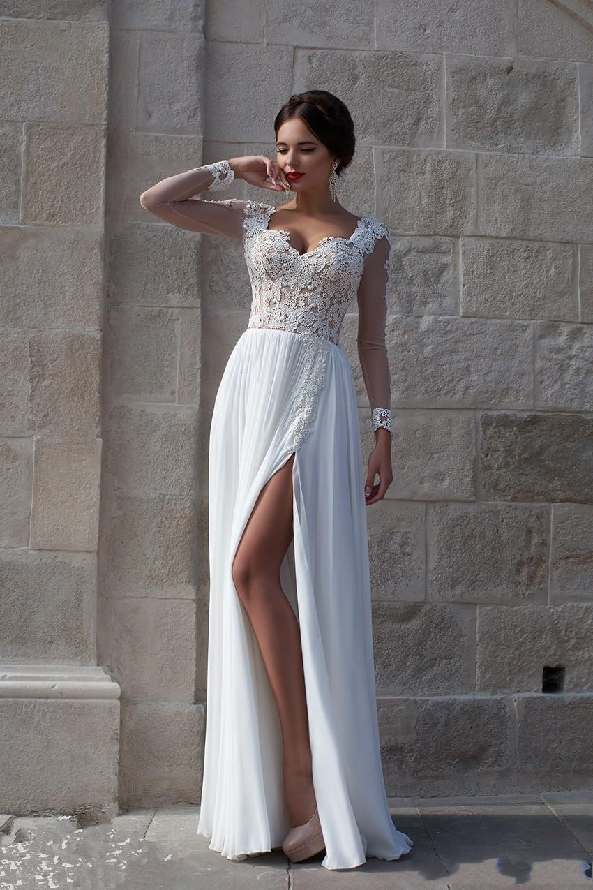 Favoriete Witte Strand Trouwjurken 2015 Lace Bruidsjurken Applique Sheer  &OE84