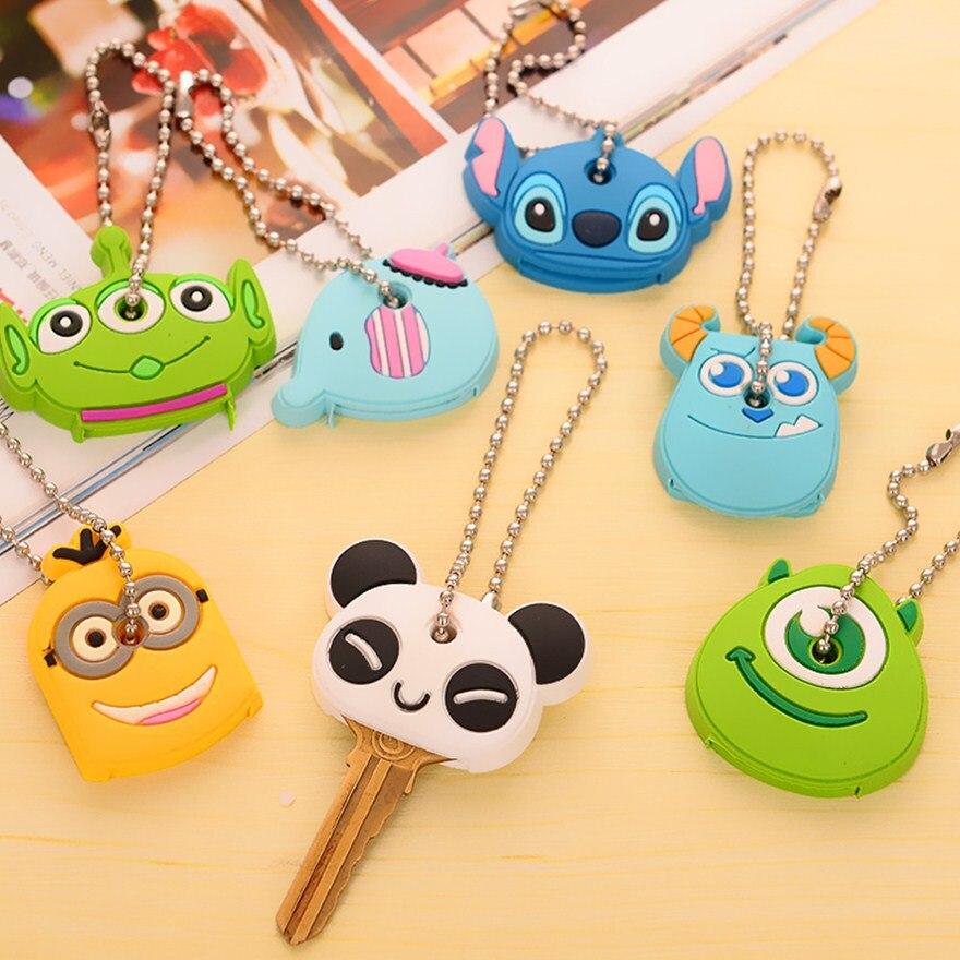 Fashion Cute Anime Cartoon Silicone Key Cover Owl Minions Bear Key Caps Keyring Keychain Ball Beads Chain Wedding Party Gift