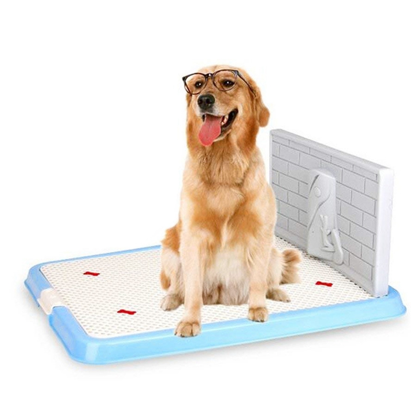 Indoor Pet Dog Puppy Potty Tray With Pee Post Protection Simulation Wall,No-Torn Puppy Pad Dog Toilet For Male/Boy Puppies   And